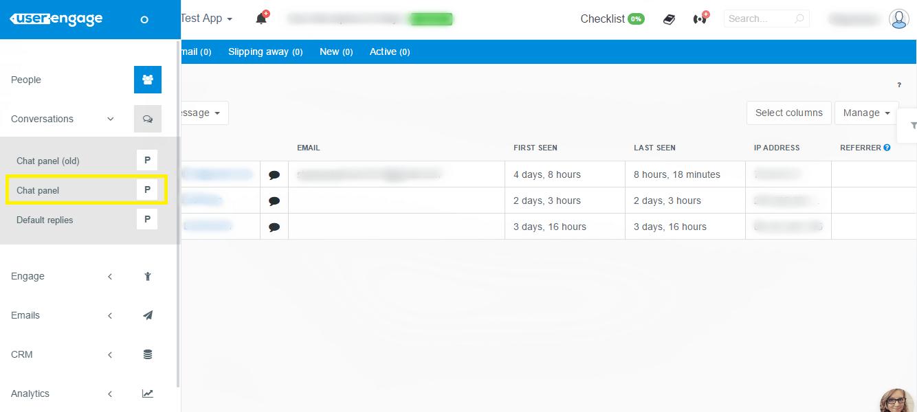 UserEngage Chat panel menu