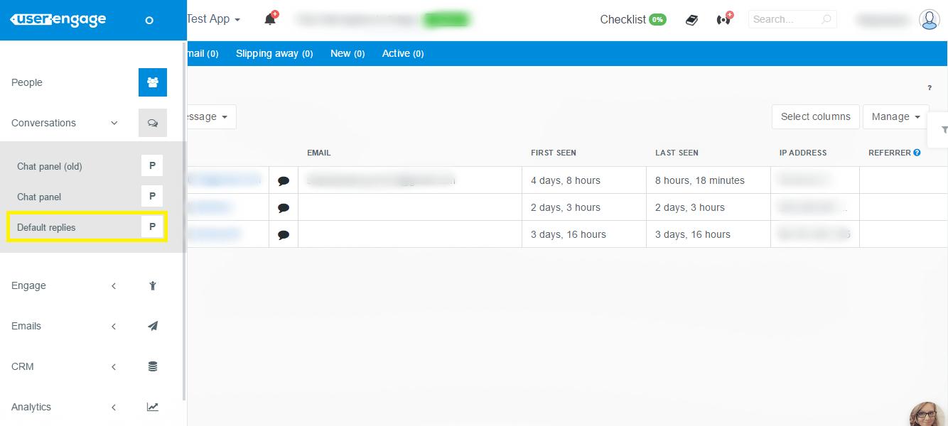 UserEngage default replies menu