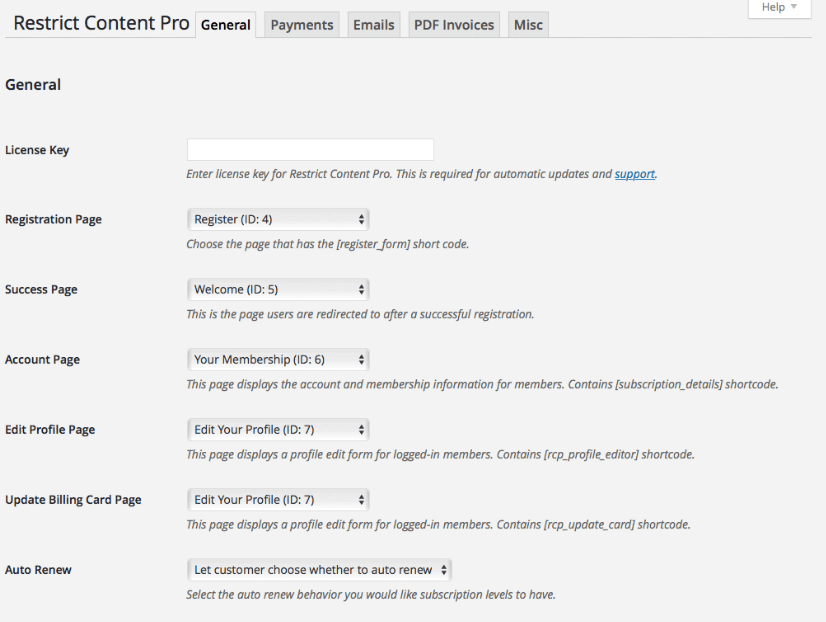 General settings page for Restrict Content Pro.