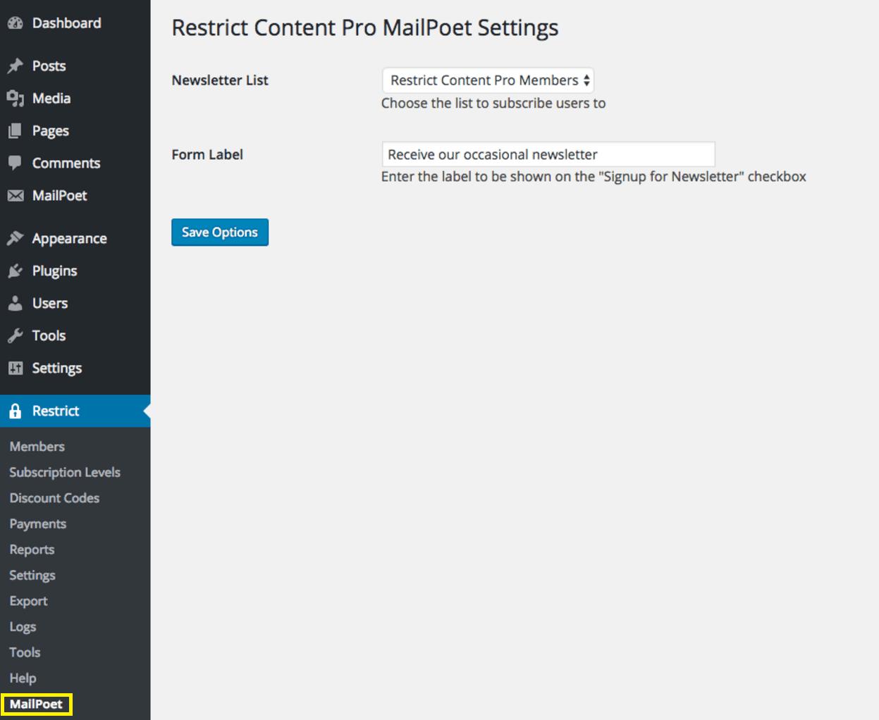 MailPoet add-on