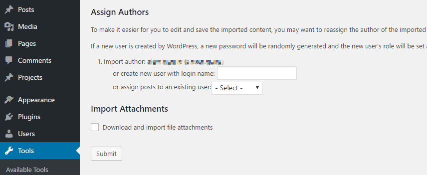 Assigning authors to your imported content.