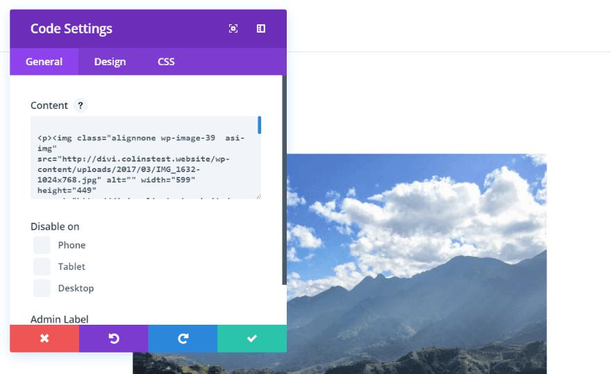 code settings
