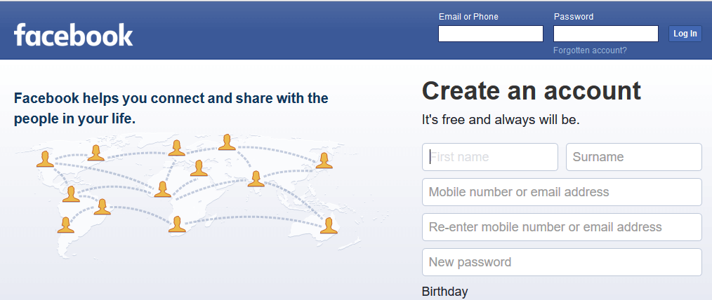 A screenshot of Facebook's homepage.