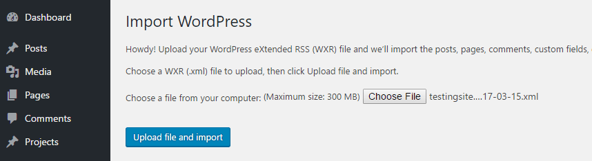Importing an XML file to WordPress.