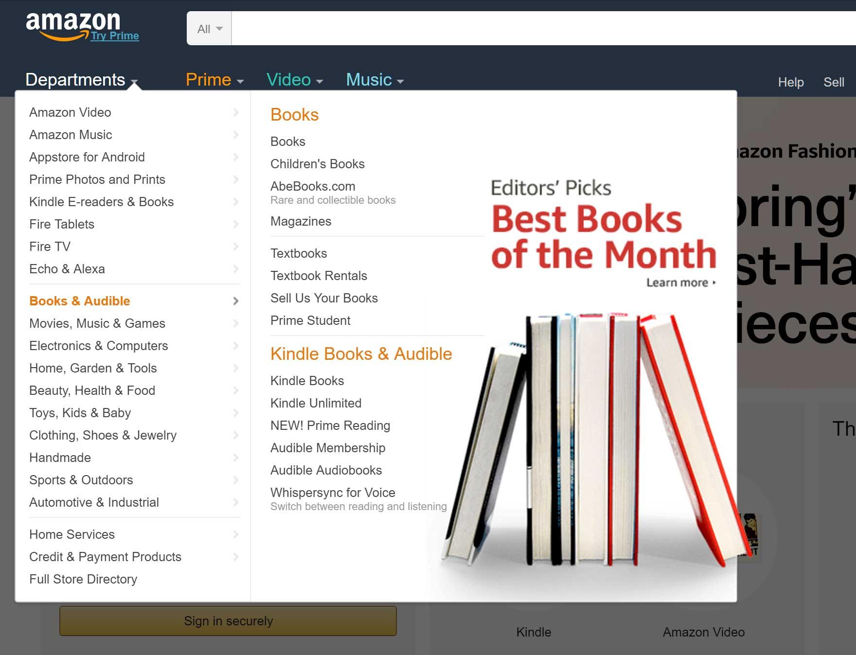 Amazon sub-menu example
