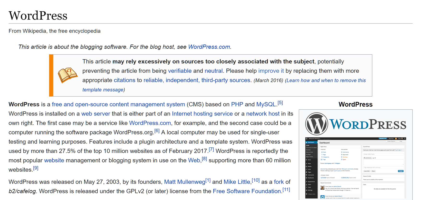 Wikipedia internal linking example