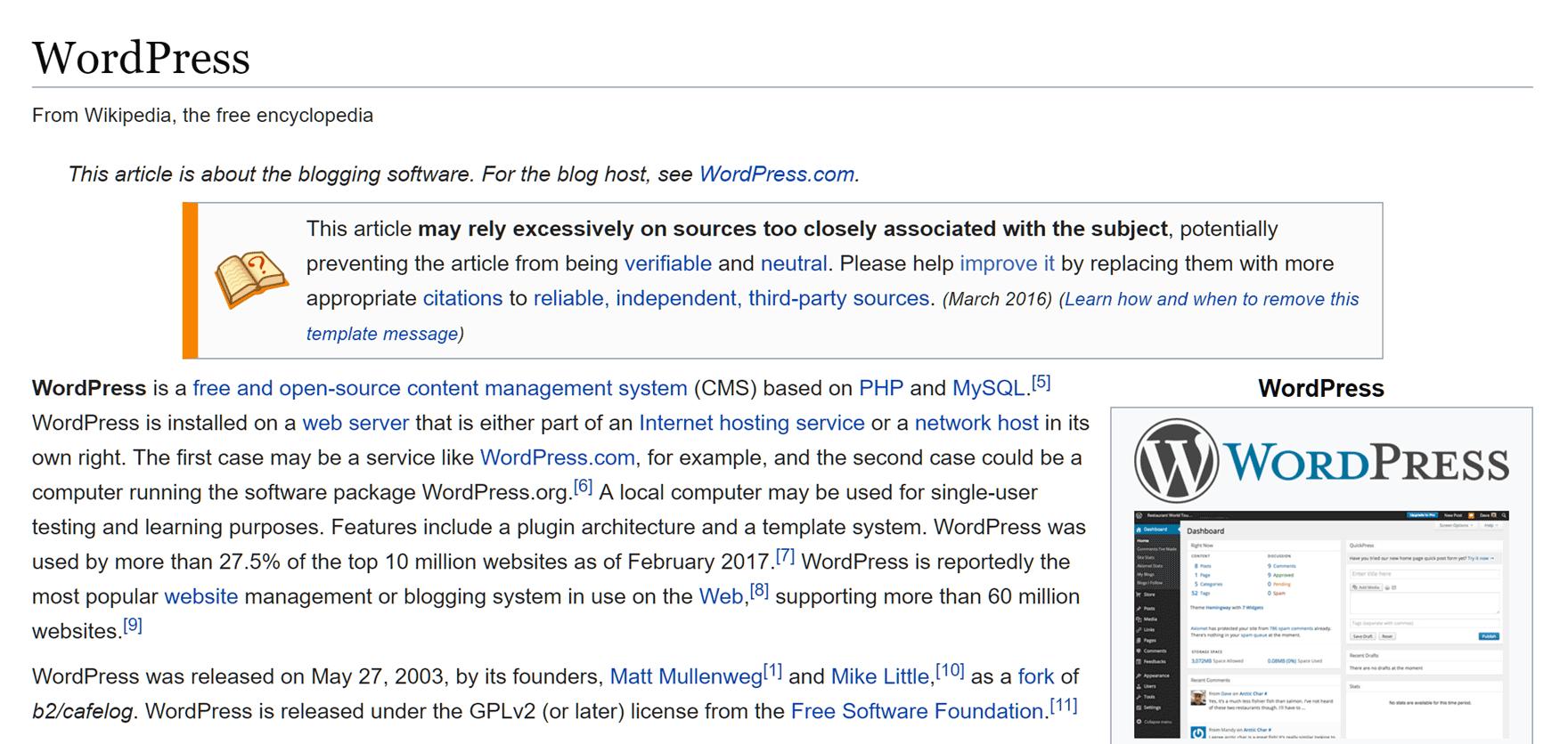 Wikipedia internal linking example