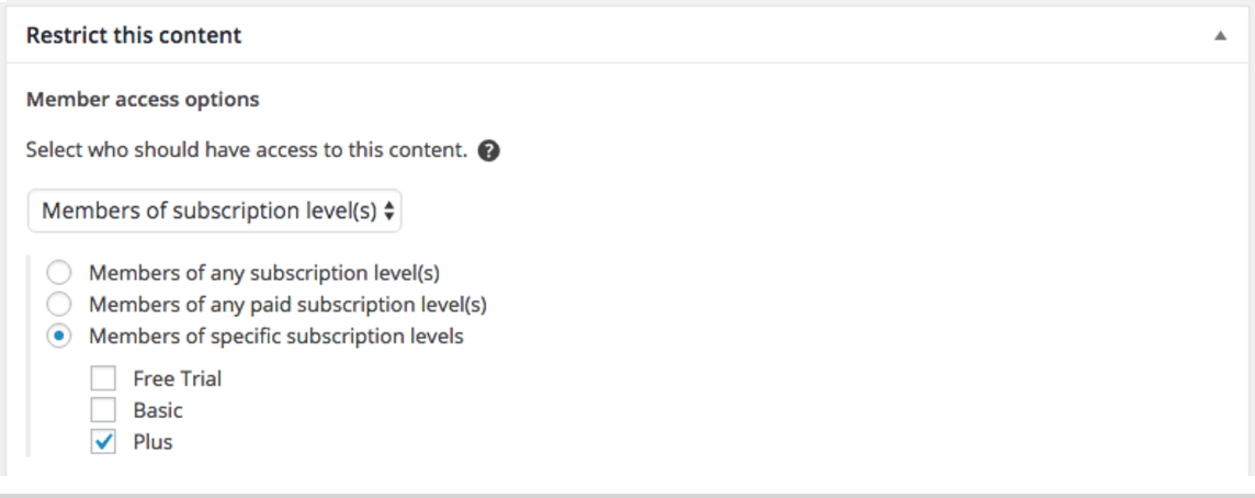 Restrict content with the editor meta box.