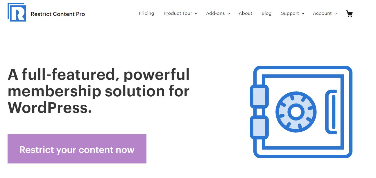 The Restrict Content Pro WordPress Plugin homepage.