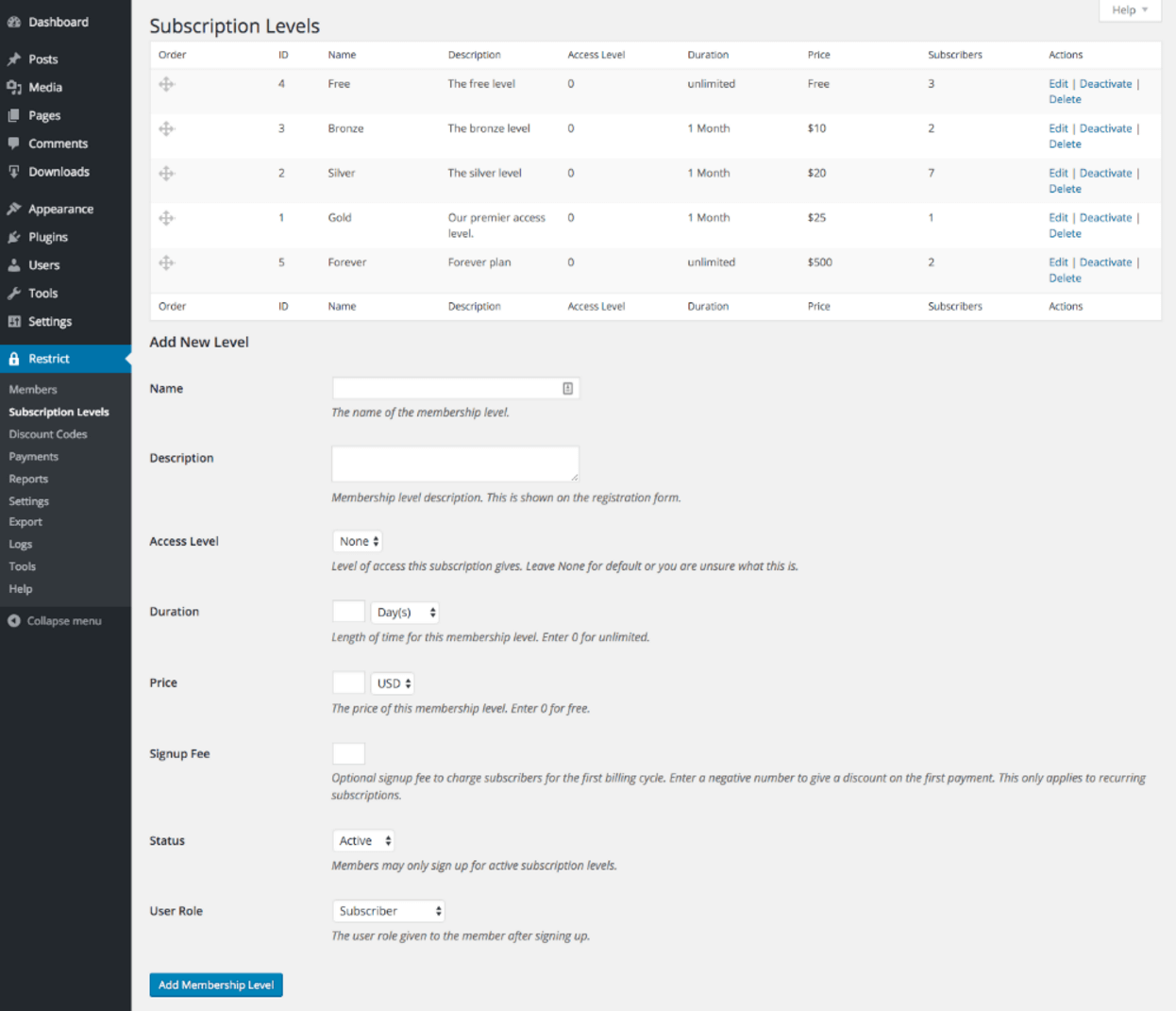 Subscription levels settings page for Restrict Content Pro.