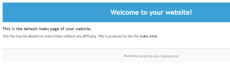 An example of a placeholder for a server where WordPress hasn't been set up.