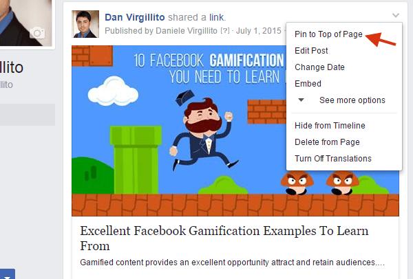 Pin post to top facebook