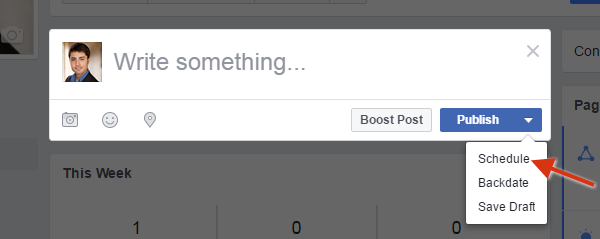Scheduling facebook posts to save time