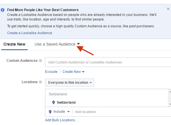 Saved Audiences Facebook marketing