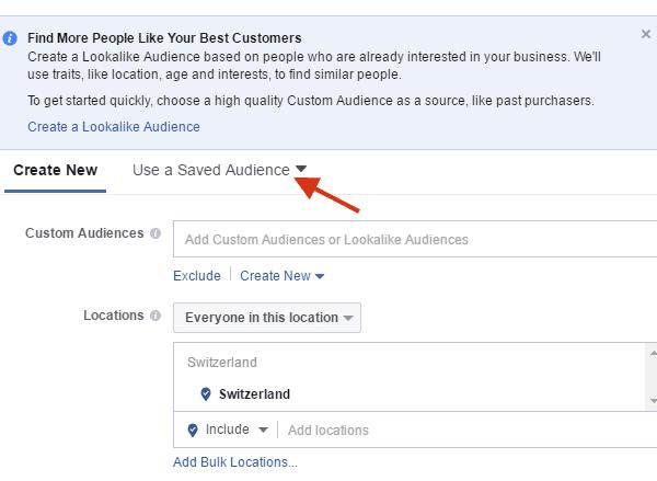 Saved Audiences Facebook marketing