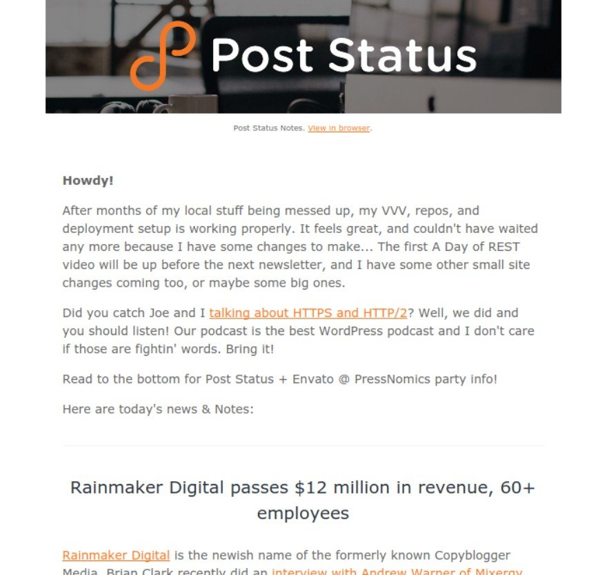 Post Status newsletter