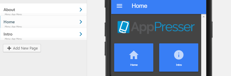 The default AppPresser custom pages.