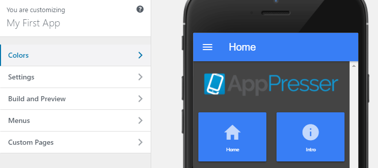The AppPresser customizer.