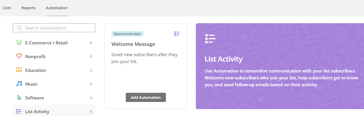 MailChimp's automation section.