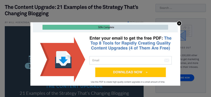 Content Upgrade Popup Leadpages