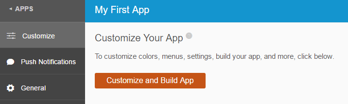 The Customize and Build Your App option.