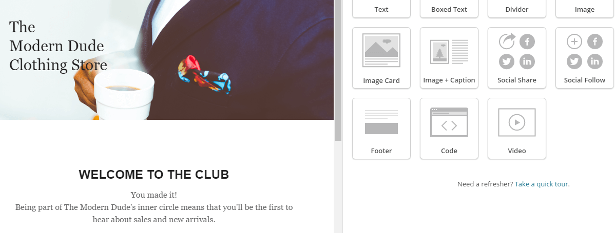 MailChimp's drag-and-drop email builder.
