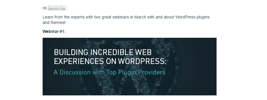 A webinar promotion email.