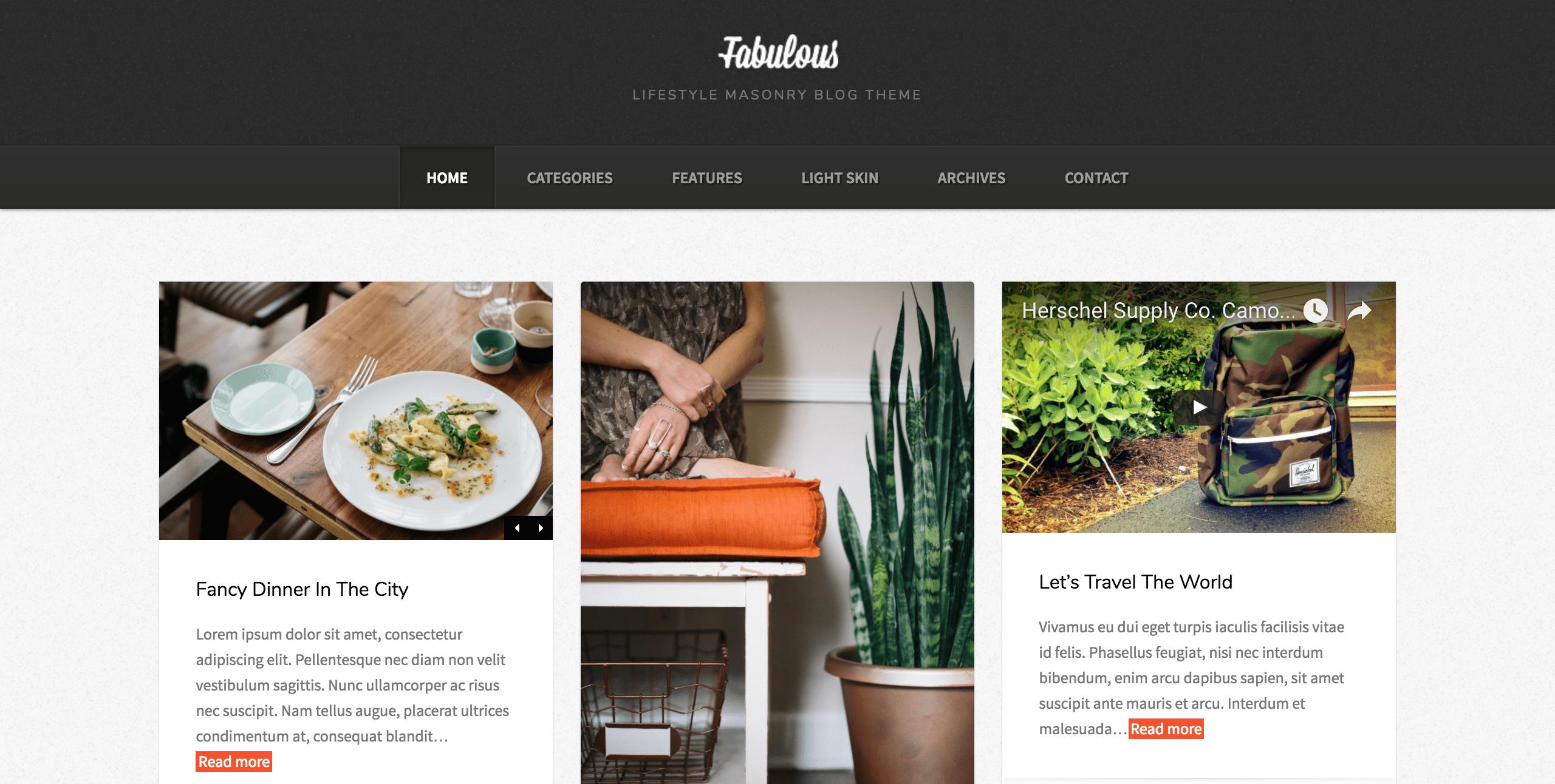Screenshot of Fabulous theme