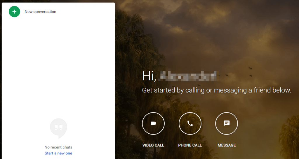 The Google Hangouts homepage.