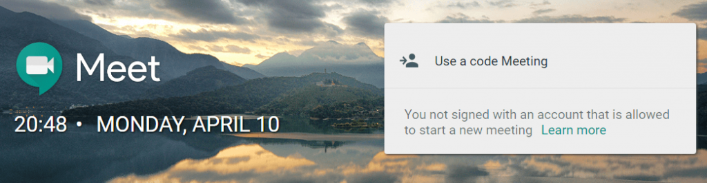 The Google Meet homepage.