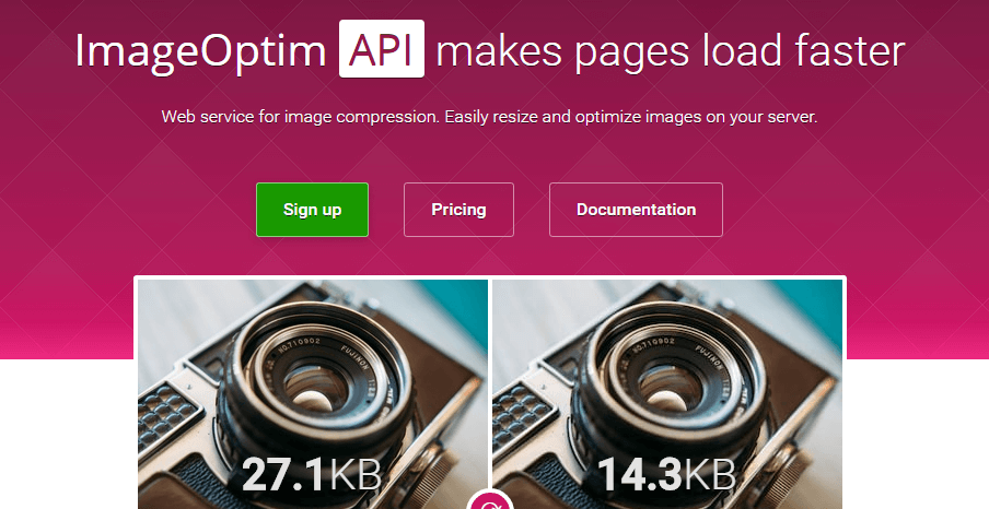 The Image Optim homepage.