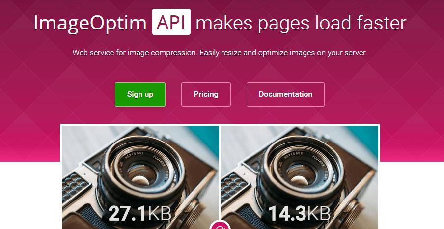 The Image Optim homepage.