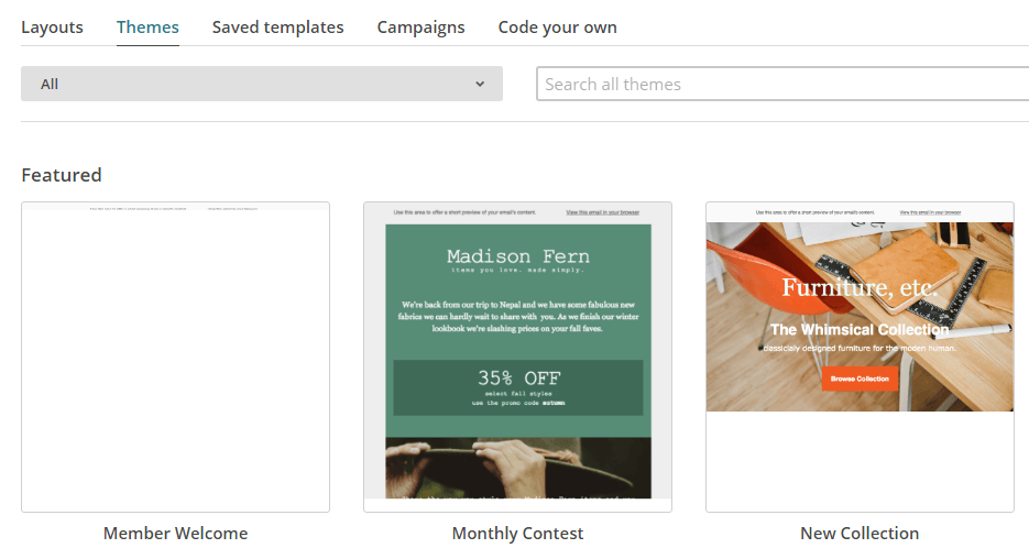 Several examples of MailChimp's email templates.