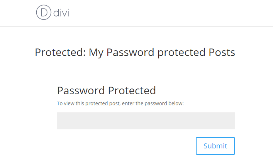 Divi password protected