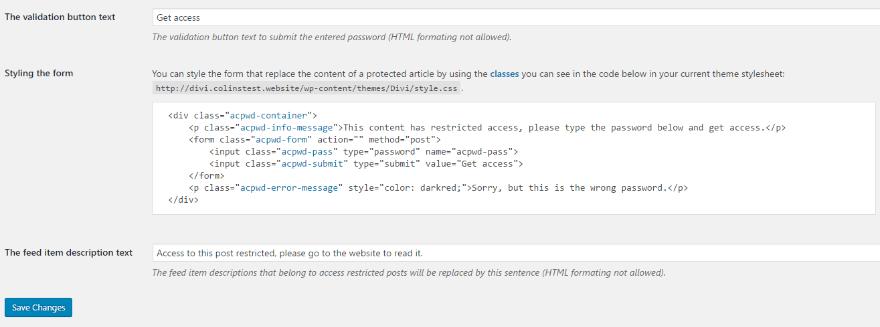 how to set custom password on worpress
