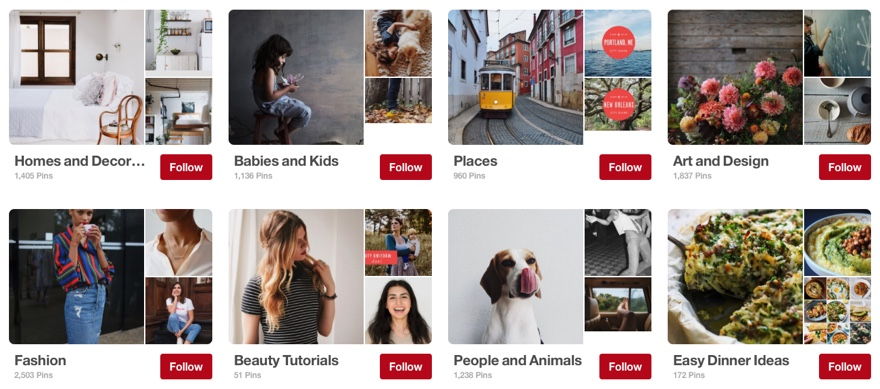 Example of Pinterest group boards