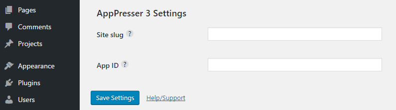 Adding your API settings to WordPress.