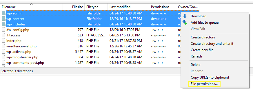 Finding the file permissions option.