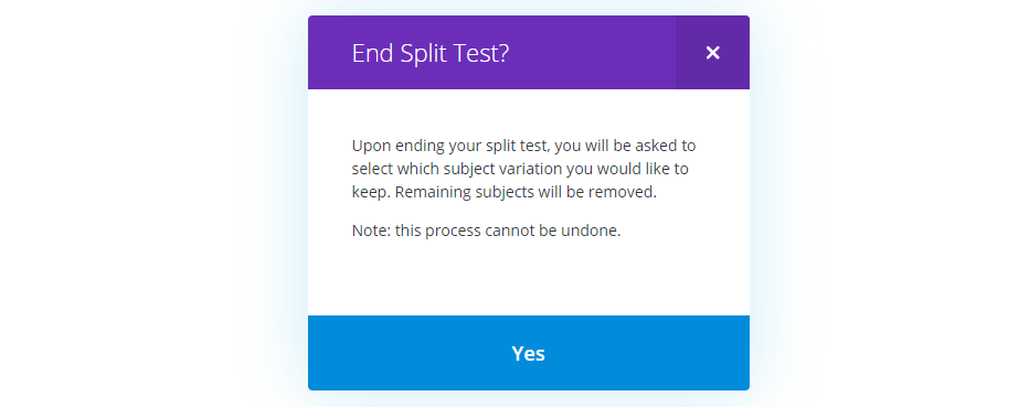 Divi Leads enables you to end your tests at any time.