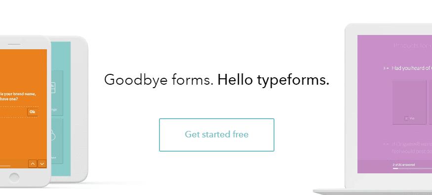 The Typeform homepage.