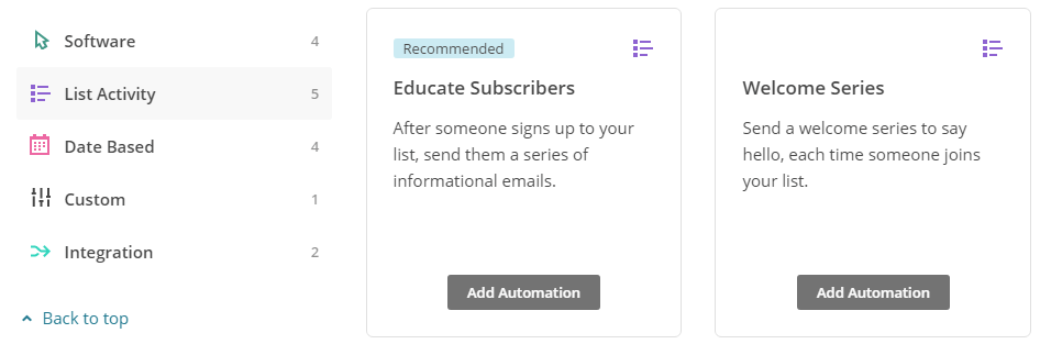The Welcome Series automation option.