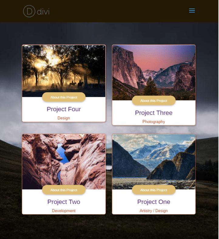 Divi Plugin Highlight Divi Portfolio Grid Elegant