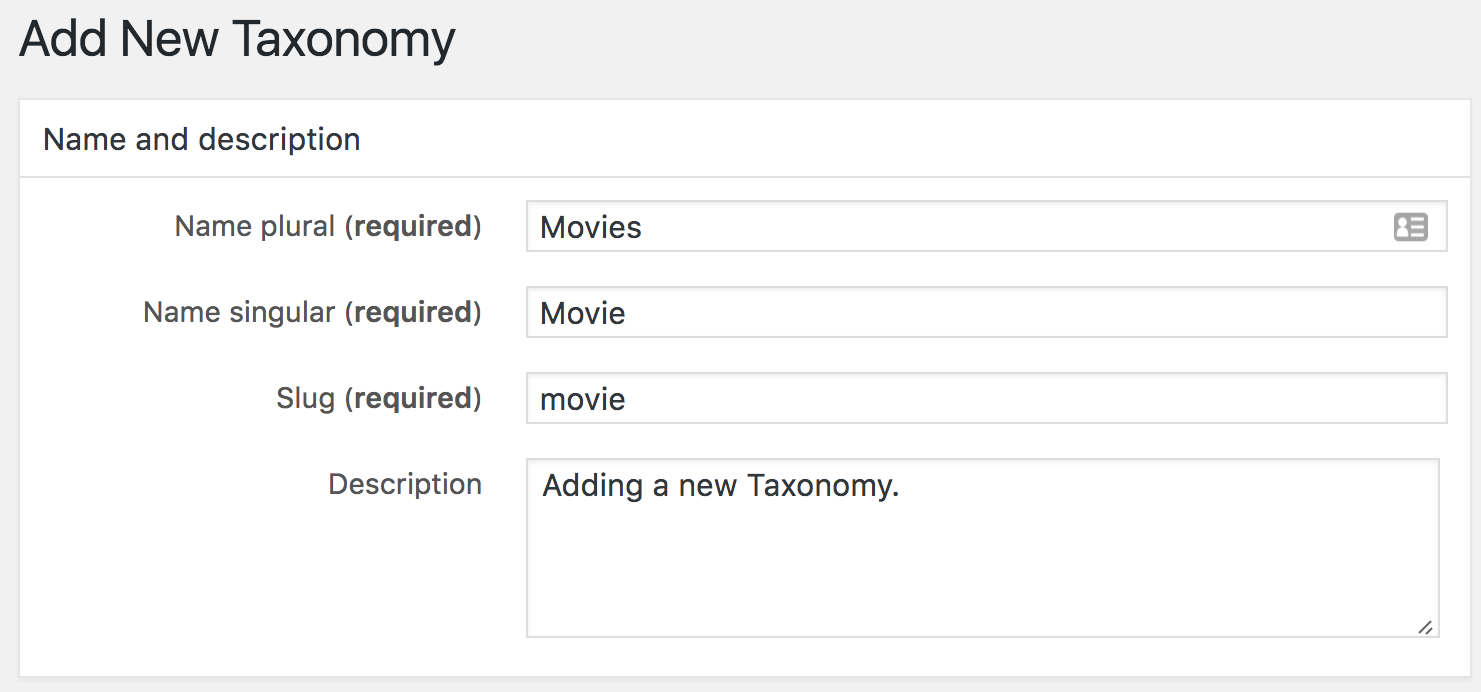 Setting the name and description for your taxonomy.