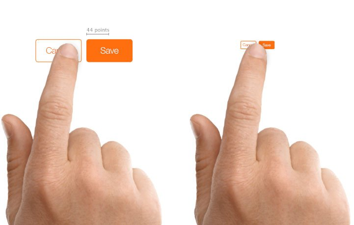 button size and spacing