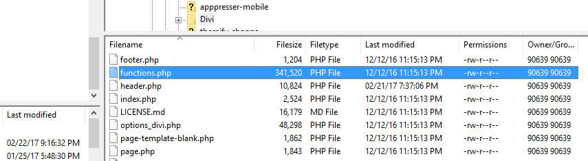 The Divi functions.php file.