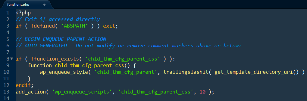 A child theme's functions.php file.