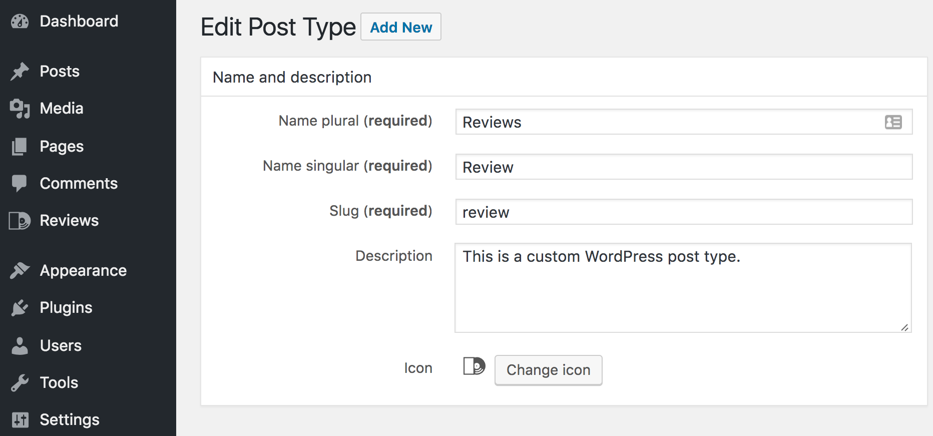 Setting the name and description for your custom post type.