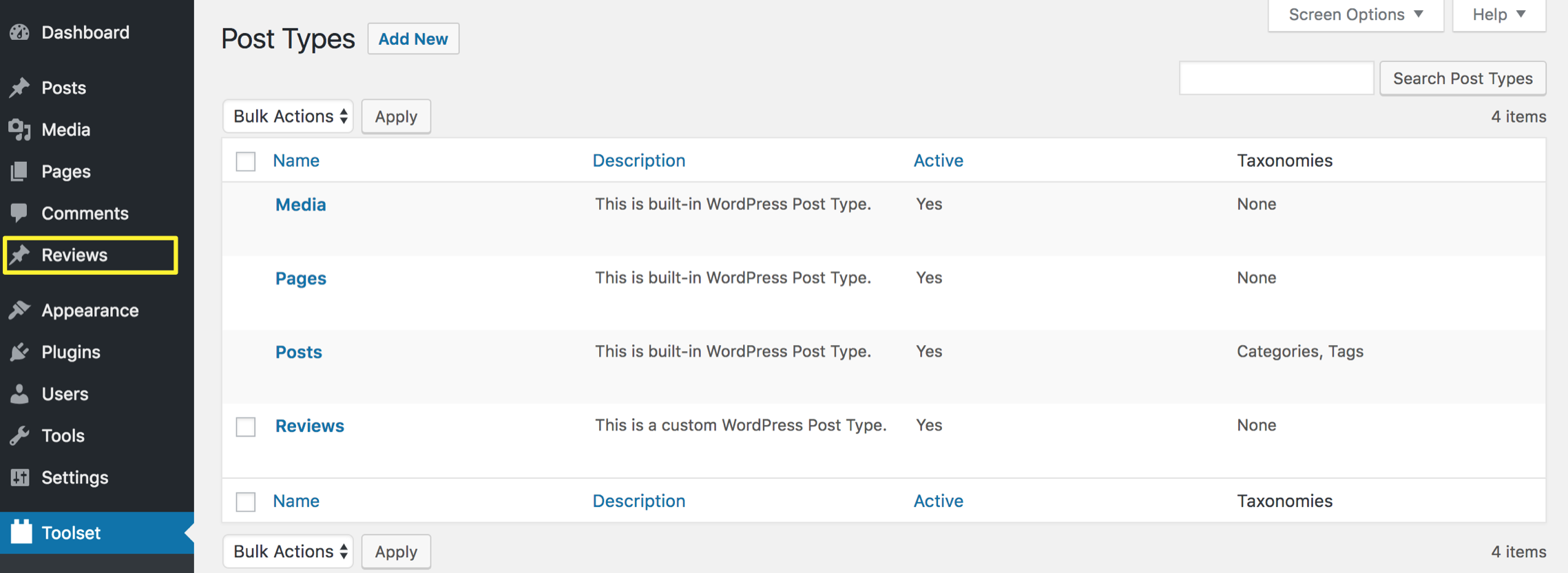 A custom post type as seen from your dashboard.