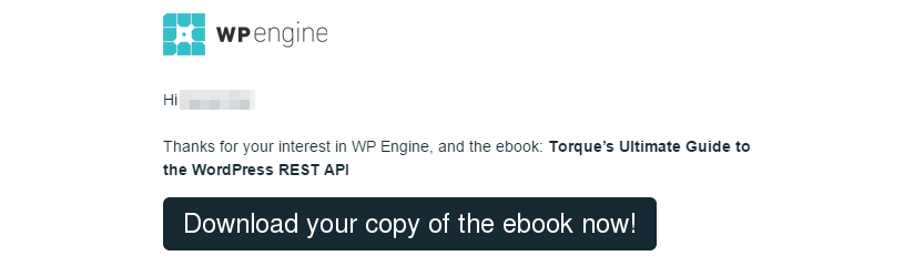 A welcome email that delivers on an e-book promise.