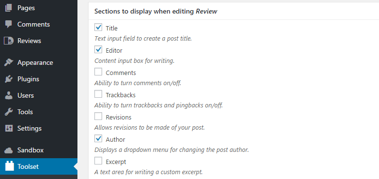 Adding sections to your custom post type's editor.